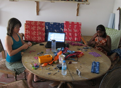 Sitting in the volunteer house experimenting with water beads.